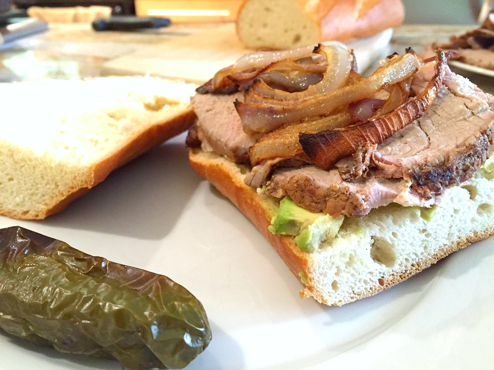 Roasted pork tenderloin, red onions and jalapeno sandwich recipe