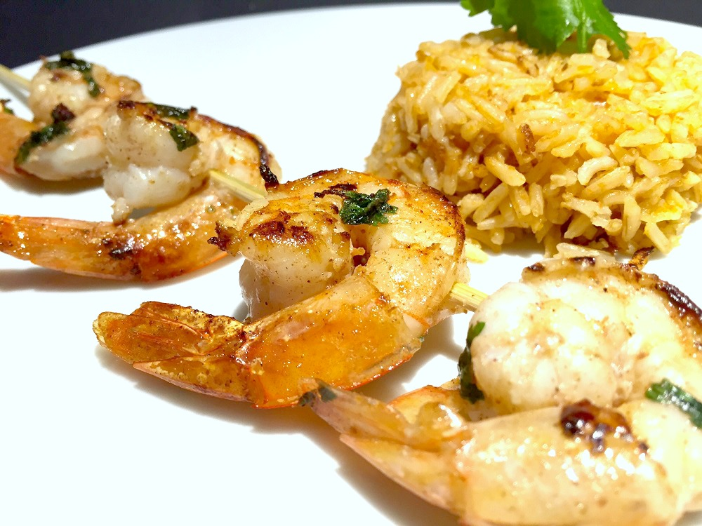 lime-cinnamon shrimp kebabs