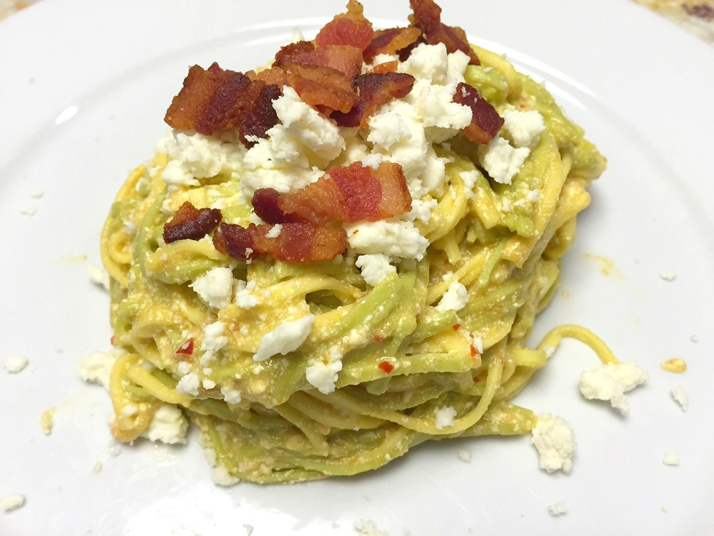 spicy tomatillo with ricotta and bacon pasta