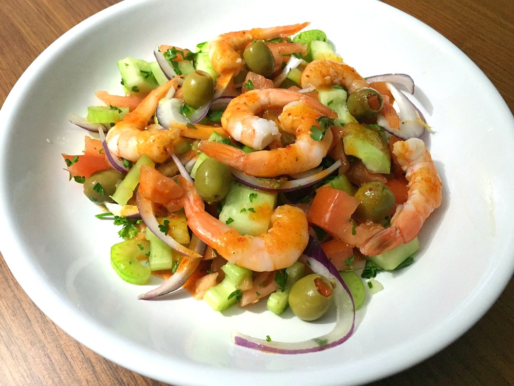 Tomato celery and shrimp salad with chamoy vinaigrette