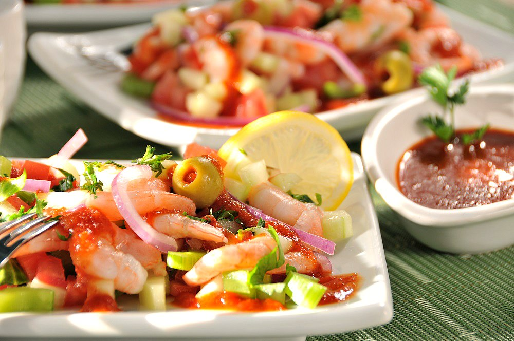 Tomato celery and shrimp salad with chamoy vinaigrette2