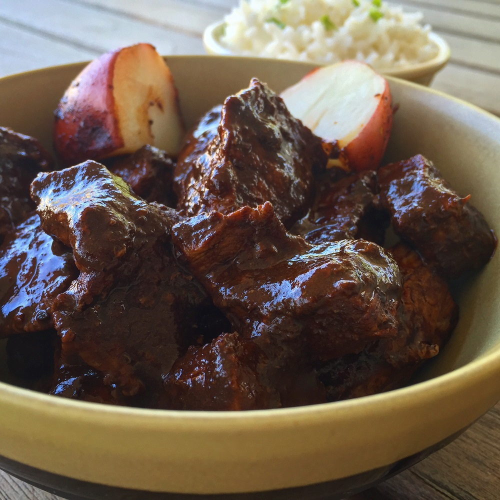 stewed beef in pasilla chile sauce