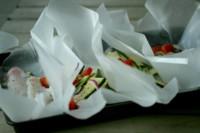 Fish basil zucchini tomatoes