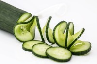 Sliced cucumber for soup