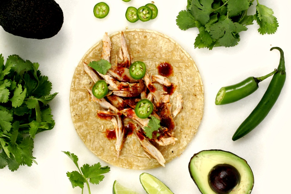 Chicken in Mexican adobo tacos