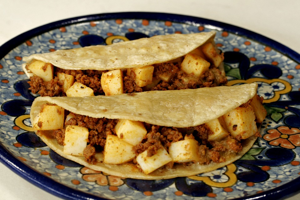 Chorizo and potato tacos