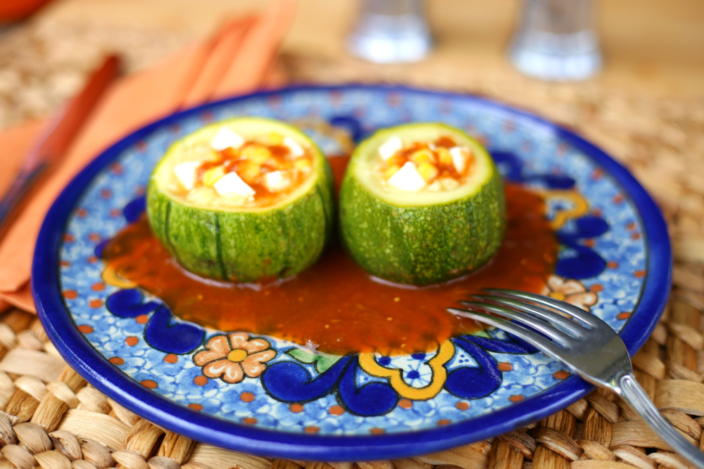 Round stuffed zucchini Mexican style